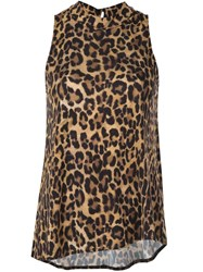Nicole Miller Furry Leopard Blouse Brown
