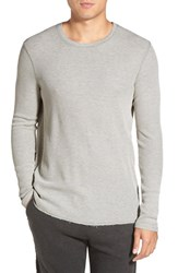 Men's Michael Stars Long Sleeve Waffle Knit Thermal T Shirt Heather Grey