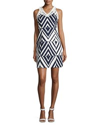 Taylor Fringe Trimmed Jacquard Sheath Dress Navy Ivory