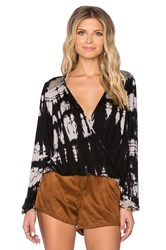 Gypsy 05 Bamboo Long Sleeve Wrap Top Black