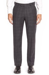 Men's Big And Tall Ballin Flat Front Plaid Wool Trousers Charcoal