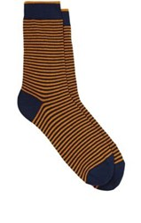 Barneys New York Men's Fine Striped Cotton Blend Mid Calf Socks Orange