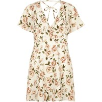 River Island Womens Cream Floral Print Tie Neck Wrap Dress