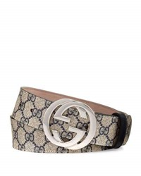 Gucci Gg Supreme Belt W Interlocking G Beige Ebony