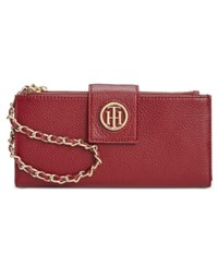 Tommy Hilfiger Leather Chain Wristlet Wallet Cabernet