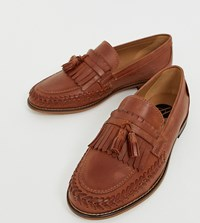 Hudson H By Wide Fit Alloa Woven Loafers In Tan Leather