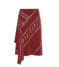 Tory Burch Embellished Silk Skirt Red
