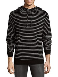 Hyden Yoo Cross Over Stripe Hoodie Black White