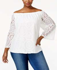 Ing Trendy Plus Size Off The Shoulder Lace Top White