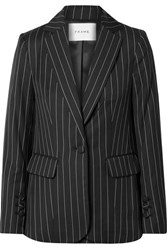 Frame Pinstriped Wool Blend Blazer Black
