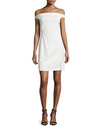 Halston Heritage Off The Shoulder Lace Up Cocktail Dress Off White