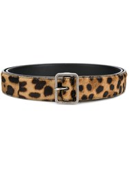 Saint Laurent Leopard Pattern Belt Brown