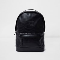 River Island Mens Black Crocodile Effect Backpack