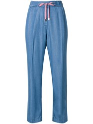 Re Hash Drawstring Cropped Trousers Blue