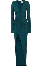 Alexandre Vauthier Crystal Embellished Ruched Stretch Crepe Gown Petrol