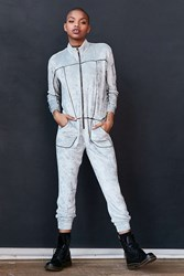 Silence And Noise Velour Track Jumpsuit Grey