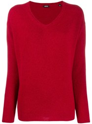 Aspesi Knit V Neck Sweater Red