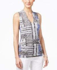 Inc International Concepts Sleeveless Printed Blouse Only At Macy's Scrambled Stripe