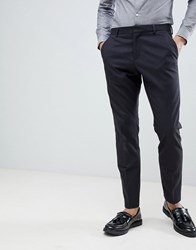 Selected Homme Suit Trouser In Slim Fit With Micro Grid Detail Dark Blue Navy