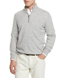 Brunello Cucinelli Cashmere Quarter Zip Pullover Sweater Light Grey