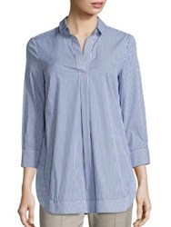 Piazza Sempione Cotton Pullover Tunic Blue White