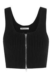 Alexander Wang Cropped Ribbed Knit Cotton Blend Top Black