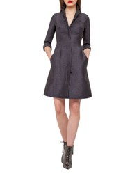 Akris Eve Metallic Chenille Coat Dress Black
