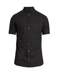Alexander Mcqueen Ribcage Short Sleeved Cotton Shirt Black
