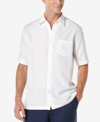 Cubavera Floral Jacquard Short Sleeve Shirt Bright White