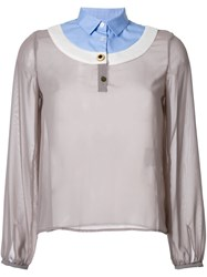 Kolor Contrast Neck Blouse Grey