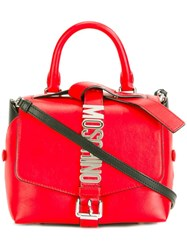 Moschino Logo Plaque Tote Red