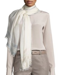 Loro Piana Ariel Striped Soffio Stole White White Pattern
