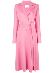 Carolina Herrera Belted Single Breasted Coat Pink