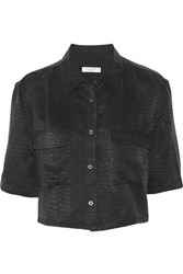 Equipment Signature Cropped Silk Jacquard Shirt Black