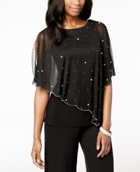 Msk Embellished Asymmetrical Overlay Top Black