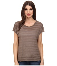 Michael Stars Shadow Stripe Short Slevee Crew Neck Caper Women's T Shirt Green