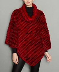 The Fur Vault Knitted Rabbit Poncho Red Black