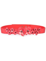 Carolina Herrera Floral Applique Belt Red