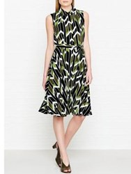 Hobbs Rowena Geometric Print Belted Dress Lime Green