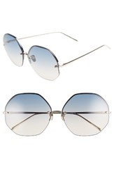 Linda Farrow Women's 63Mm Semi Rimless Round Titanium Sunglasses