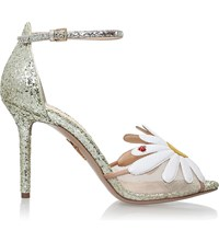 Charlotte Olympia Margherite Daisy Mtoif Glitter Sandals Gold Comb