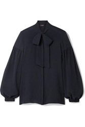 Akris Pussy Bow Mulberry Silk Crepe Blouse Navy