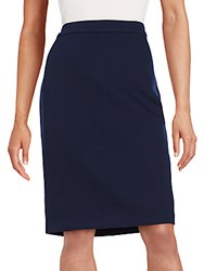 Lanvin Stretch Wool Pencil Skirt Navy Blue