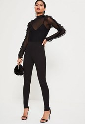 Missguided Black Mesh Top Frill Sleeve Jumpsuit