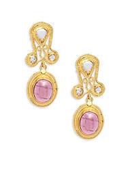 Estate Jewelry Collection Pink Tourmaline And 22K Yellow Gold Drop Earrings