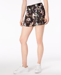 Bar Iii Floral Print Pleated Shorts Created For Macy's Black Prism