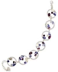 Sis By Simone I Smith Blue Purple And White Crystal Bracelet In Platinum Over Sterling Silver