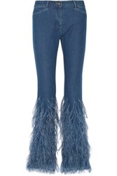 Michael Kors Collection Feather Trimmed Mid Rise Flared Jeans Mid Denim