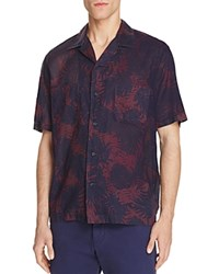 Vince Cabana Palm Print Slim Fit Button Down Shirt Maroon