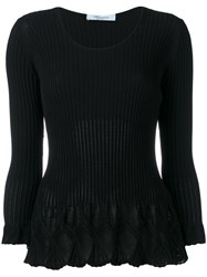 Blumarine Flared Knit Top Black